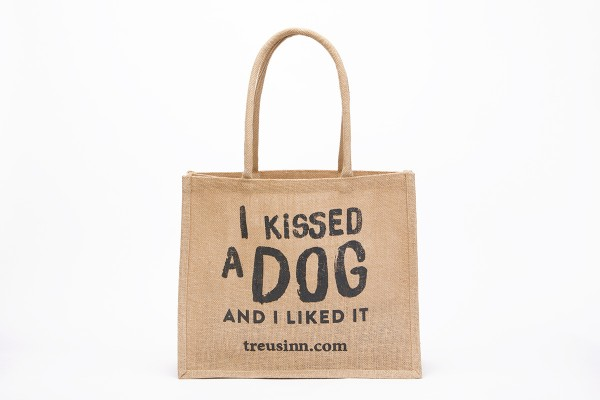 "Treusinn Eco Shopper Jute ""I kissed a dog"", Schwarz"