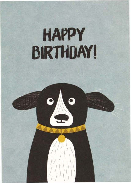 Postkarte Hund - Happy Birthday