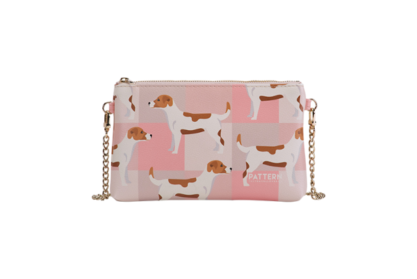 Pattern Tasche Miss weekend Jack Russel Pink