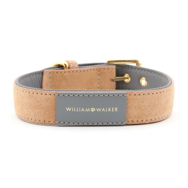 William Walker Wildleder Hundehalsband Coral x Sea Salt