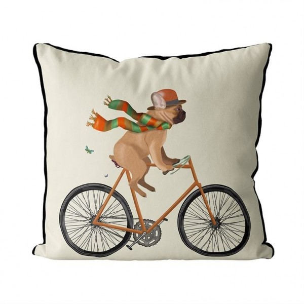 Fab Funky Kissen French Bulldog on Bicycle mit Federkissen