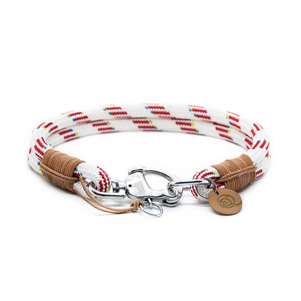 Q3N Halsband Sylter Strick Deluxe Weiss-Rot