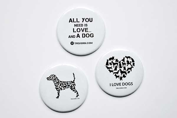 Magnet Button Hund, 3 Magnete im Set