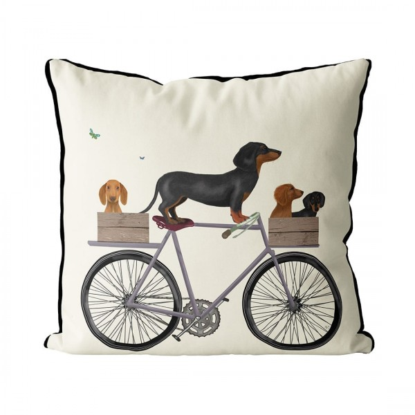 Fab Funky Kissen Dachshunds on Bicycle mit Federkissen