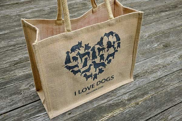 Treusinn Eco Shopper Jute 'I Love Dogs', Schwarz
